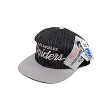 Load image into Gallery viewer, Vintage LA Raiders Pinstripe Script Snapback