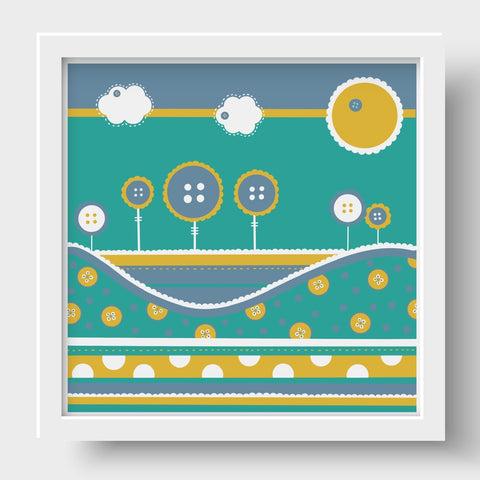 Cute as a Button Nursery Prints - Teal Trees