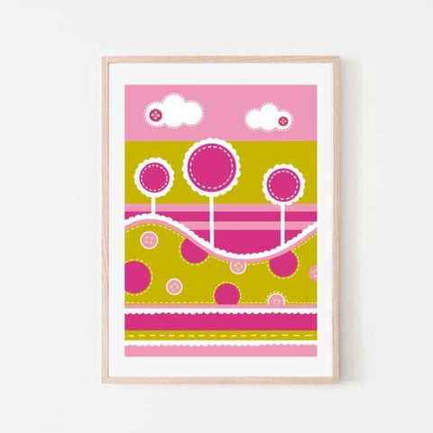 Fun Tree Print - Pink & Green