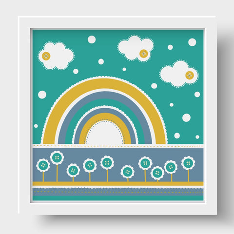Cute as a Button Nursery Print - Teal Rainbow