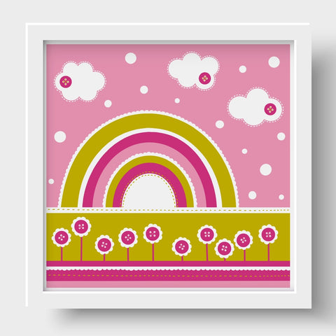 Cute as a Button Nursery Print - Pink Rainbow