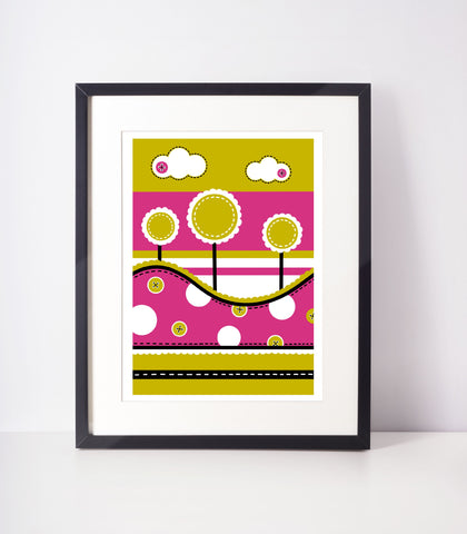 Fun Tree Print - Bright Pink