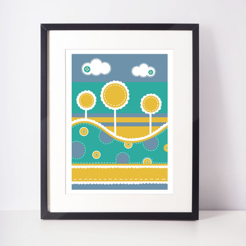 Fun Tree Print - Yellow & Blue