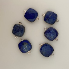 Six Piece a Pack Connector Sterling Silver 925 Lapis Lazuli Cushion Shape, Size : 15mm