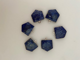Six Piece a Pack One Loop Real 925 Sterling Silver Lapis Lazuli Pentagon Shape, Size : 18mmX18mm. .