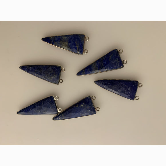 6 Piece of Sterling Silver 925 Natural  Lapis lazuli Triangle Shape Bezel  Size :15mmX35mm KC-167