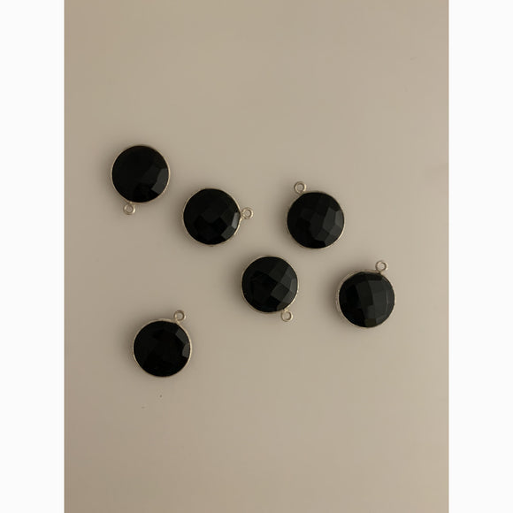 6 Piece  Sterling Silver 925 Natural Black Onyx  Round Shape, Size : 15mm KE-18
