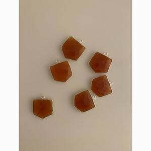 6 Piece  Sterling Silver 925 Natural Carnelian Pentagon Shape, Size : 18mmX18mm KE-82