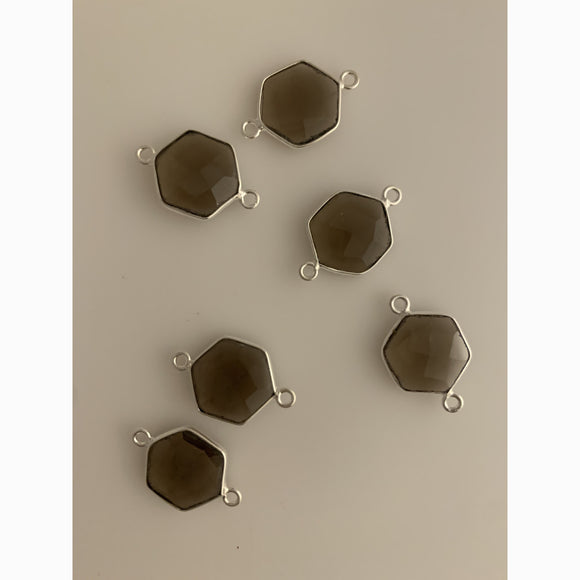6 Piece  Sterling Silver 925 Natural Smoky Quartz  Bezel Hexagon Shape, Size : 12mm KE-65