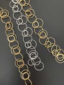 3 Feet of Multi Circle Fancy Chain, Gold finish And Silver Plated,E-coated,  Designer's Chain.Circle Size: 24mm, 22mm  & Flat Circle is 17mm