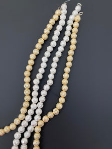 1 Strand of Brushed Finish Fancy Shiny Round Gold Finish Beads , E-coated Beads. Bead Size is: 8mm NO-89