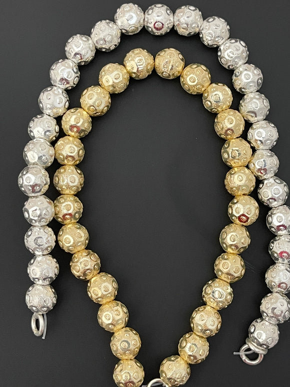 1 Strand of Brushed Finish Fancy Shiny Round Gold Finish Beads , E-coated Beads. Bead Size is: 8mm NO-87