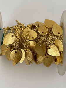 3 Feet of Betel Leaf  Dangling Chain. Gold Finish Betel   Leaf Light Weight Fancy Chain Dangling Leaf  Charms.#31