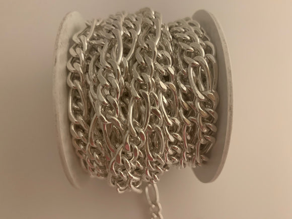 3 Feet of 925 Sterling Silver Hollow Figaro  Chain 3+1  White Silver Chain Size: 7.35 (#113 Sterling Silver Chain)