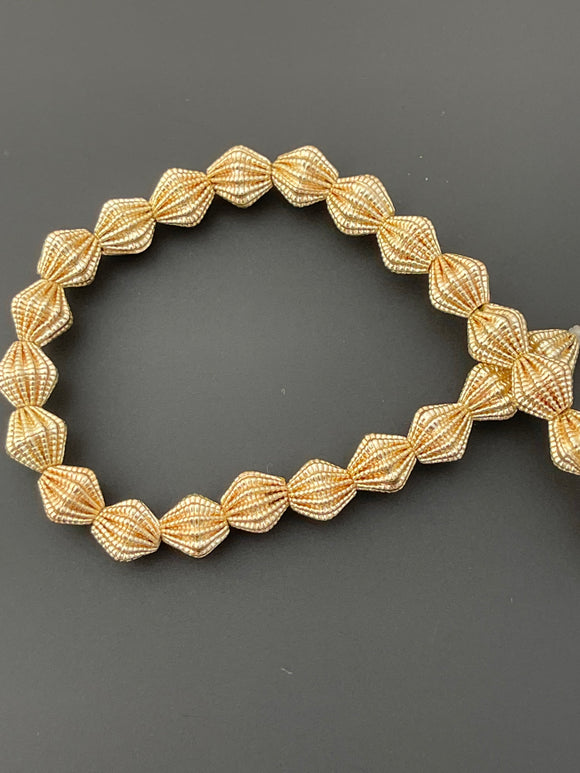 1 Strand of Brushed  Fancy Gold Finish Beads  E-coated Beads. Size :8mmX8# NO-121