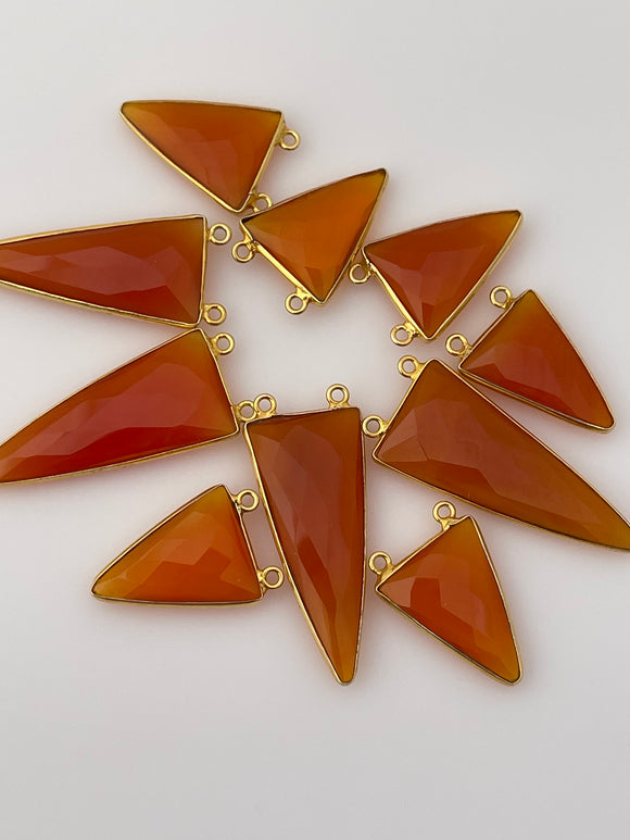 Red Onyx A Pack of Six Pieces  Connector  Real Gold Plated and Sterling Silver 925 Red Onyx Triangle Shape, Two Size : 15mmX35mm.,15mmX20mm
