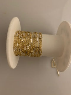 3 Feet Long Vermeil Yellow  Cable With Crimped D/C Tube With Raw Silver  (92.5) and Real Gold Plated Chain Size: 1.8 mm #86