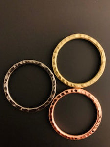A Pack of Copper,Brass and Gunmetal Hammered Hoops  Rings, E-coated, Brushed Finish, Handmade Rings/Circles Available 7 size and three color