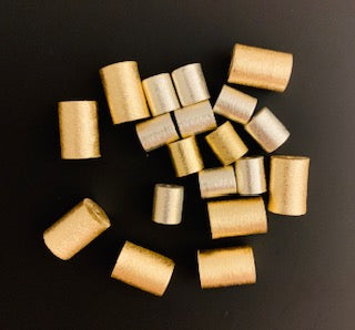1 Strand of  Cylinder Shape Beads, Gold finish,Silver Plated Brushed Finish, e-coated (about 13 Beads)Size :10mmX15mm,8mmX10mm.