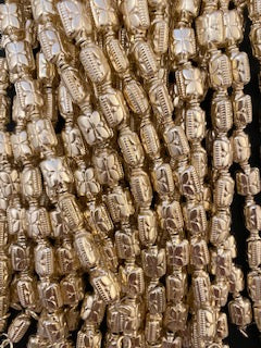 1 Strand of Designer Rectangular  Gold Beads ,Gold Finish and Silver Plated Beads, E-coated Beads Approx Size :15mmX10mmX7mm