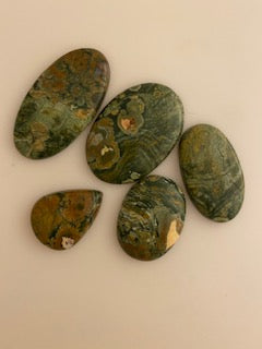 5  Pieces of  Rainforest Jasper Cabochon Gemstones, Mix Shape Loose Cabochon Gemstone Lot.
