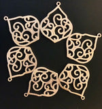 "6 Pcs. Gold Finish and  Silver Plated  Finding /Charm E-coated, Brushed Finish, Copper Findings, PENDENT .""37mmX30mm"""