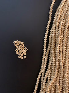 1 Strand of Decorative Gold Spacer ,Gold Finish and Silver Plated Bead, E-coated Beads Size :4mmX3mm