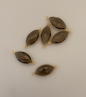 Six Piece a Pack Connector Real Gold Plated  Smokey Quartz  Bezel Marquise Shape, Size : 11mmX22mm.