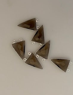 Six Piece a Pack Connector Sterling Silver 925 Smokey Quartz  Bezel ,Triangle Shape, Size : 15mmX20mm. DM 720
