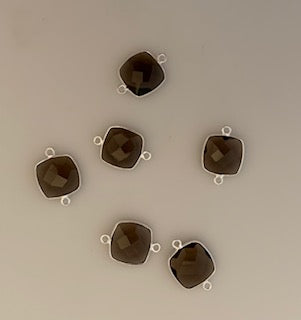 Six Piece a Pack Connector  Sterling Silver 925 Smokey Quartz  Bezel ,Cushion Shape, Size : 12mm. #DM 59