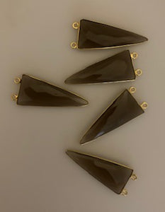 Five Piece a Pack Connector Real Gold Plated  Smokey Quartz  Bezel ,Triangle Shape, Size : 15mmX35mm.