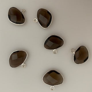 Six Piece a Pack Charm/Pendent Sterling Silver 925 Smokey Quartz  Bezel H Oval  Shape, Size : 10mmX15mm.
