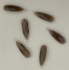 Six Piece a Pack one loop Sterling Silver 925 Smokey Quartz  Bezel Pear  Shape, Size : 8mmX26mm.