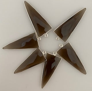Six Piece a Pack one loop  Sterling Silver 925 Smokey Quartz  Bezel Triangle Shape, Size : 15mmX35mm.
