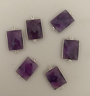 Six Piece a Pack Connector  Sterling Silver 925 Smokey Quartz Rectangle Shape, Bezel Size : 15mmX20mm.