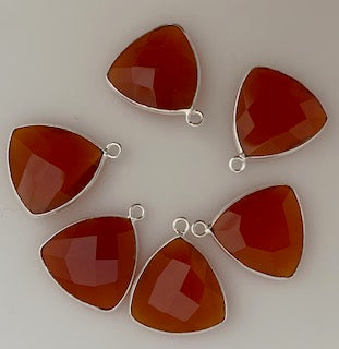 Six Piece a Pack one loop  Sterling Silver 925 Carnelian  Trillion  Shape, Size : 15mm.