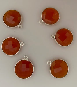 Six Piece a Pack One loop  Sterling Silver 925 Carnelian Round  Shape, Size : 15mm.