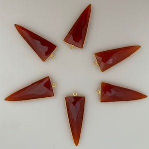 Six Piece a Pack One Loop Real Gold Plated and  Carnelian Triangle   Shape, Size : 15mmX35mm.