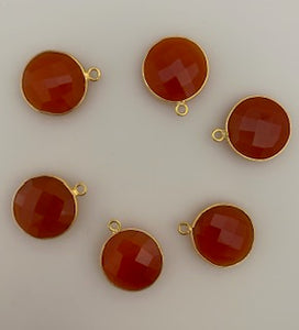 Six Piece a Pack One Loop Real Gold Plated  Carnelian Round Shape, Size : 15mm