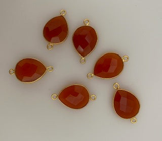 Six Piece a Pack Connector Real Gold Plated  Carnelian Pear Shape, Size : 12mmX15mm.