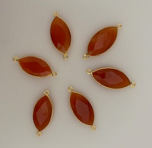 Six Piece a Pack Connectro Real Gold Plated  Carnelian Marquise Shape, Size : 11mmX22mm.