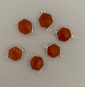 Six Piece a Pack Connector Sterling Silver 925 Carnelian Hexagon Shape, Size : 12