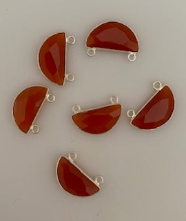 Six Piece a Pack Connector Sterling Silver 925 Carnelian Half Moon Shape, Size : 9mmX18mm.