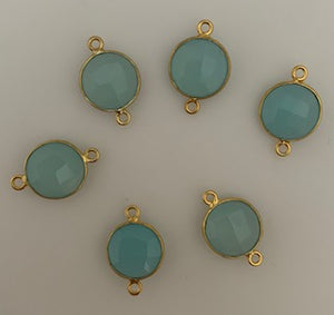 Six Piece a Pack Connector Real Gold Plated  Aqua Chalcedony Round  Shape, Size : 11mm