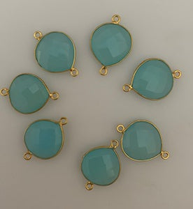 Six Piece a Pack Connector Real Gold Plated  Aqua Chalcedony Heart Shape, Size : 15mm.