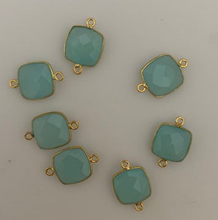 Six Piece a Pack Connector Real Gold Plated  Aqua Chalcedony Cushion Shape, Size : 12mm