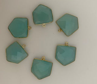 Six Piece a Pack One Loop Real Gold Plated and  Aqua Chalcedony Pentagon Shape, Size : 18mm