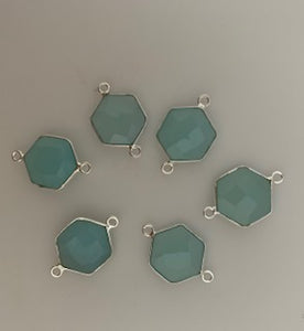 Six Piece a Pack Connector Real Gold Plated and Sterling Silver 925 Aqua Chalcedony Hexagon Shape, Size : 12mm.