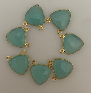 Six Piece a Pack Connector Real Gold Plated and Sterling Silver 925 Aqua Chalcedony Trillion Shape, Size : 15mm.