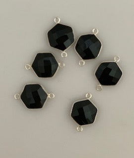 Six Piece a Pack Connector Real  Sterling Silver 925 Black Onyx  Hexagon  Shape, Size : 12mm.